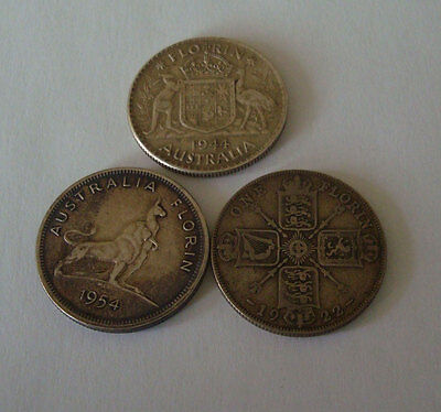 Lot of 3 Australia Great Britain Coin SILVER FLORINS- 1922-1954