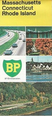 1973 BP OIL Road Map MASSACHUSETTS CONNECTICUT RHODE ISLAND Cape Cod Worcester