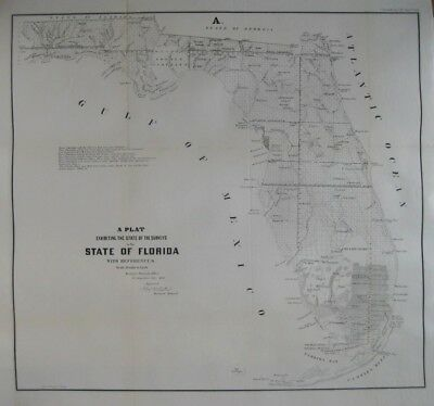 Original 1855 US Army Military Fort Survey Map FLORIDA Everglades Indians Trails