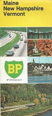 1973 BP OIL Road Map MAINE NEW HAMPSHIRE VERMONT Concord Portland Burlington