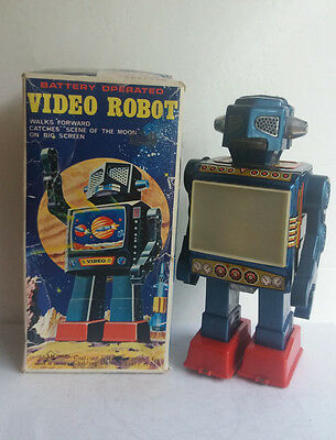 RARE Video Robot by SH Horikawa battery operated, 1960's Japan, BOXED.Space toy