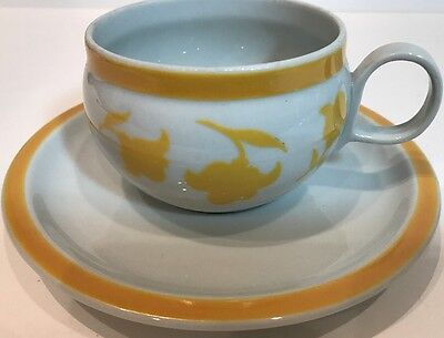 Block Hearthstone Ginger Vista Alegre 8Pc Flat Cups Saucers Yellow Flowers Band