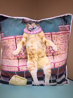Cat Themed Cat At The Salon Hairdresser Accent Pillow 18 Inches Gently Used