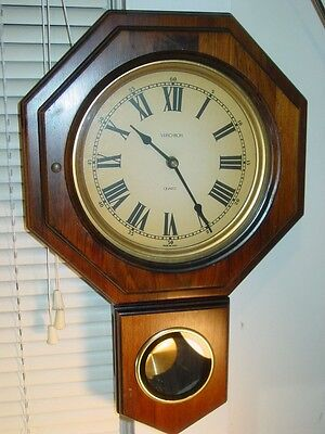 Verichron Large Wood Pendulum Wall Clock Schoolhouse - Made in USA