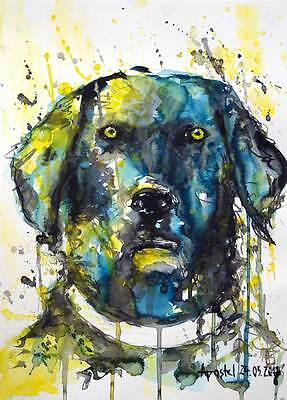 Original Aquarell (watercolor painting) 24x32cm, Hund, dog, perro