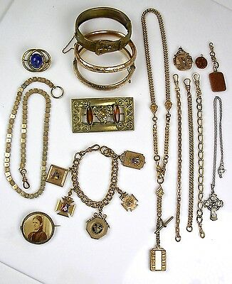 Lot 16pc Victorian GF Jewelry Pins Necklaces Bracelets Charms  Quality Lot G