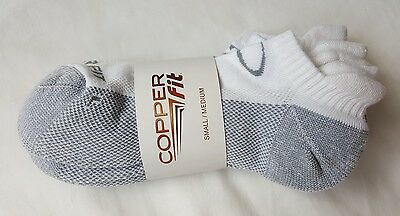 Copper Fit 3 Pair Performance Sport Ankle Socks White Gray S/M NWT