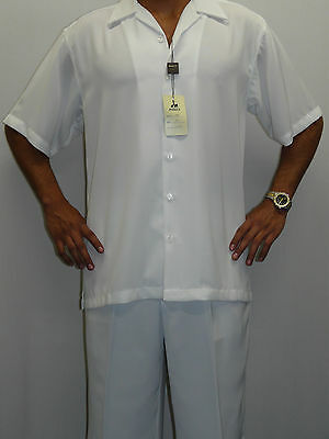 Mens INSERCH Walking Leisure Suit Two Piece Matching Slacks Shirt Set 9356 White