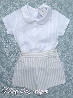 Baby Boys Spanish Romper 2 Piece Set Outfit Shorts Shirt 9-12 Months Romany