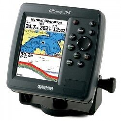 Garmin 398 color chartplotter sounder with bracket, transducer, and suncover