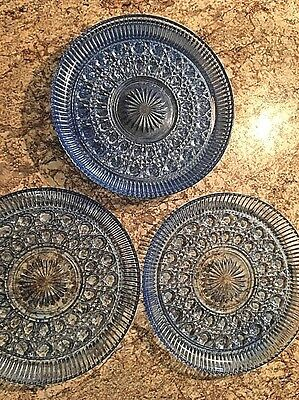 "RARE SET Of 5 BLUE WINDSOR VTG BUTTON AND CANE INDIANA GLASS 11"" PLATES"
