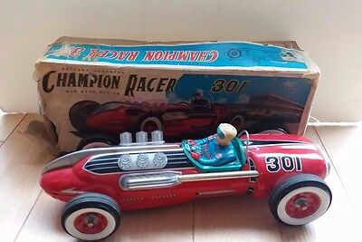 Modern Toys MASUDAYA Tin litho battery operated 301 Champion Racer, Japan-RARE!