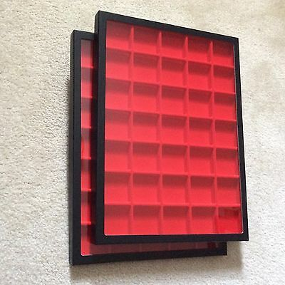 "Box (of 2) 12"" x 16"" Display Cases (""Riker"" type) with Red Dividers (35 Squares)"
