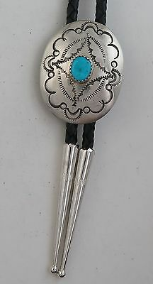 Sterling Silver & Turquoise Ornate Stamped Southwestern Concho Bolo Tie