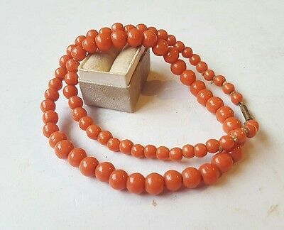 Antique Coral Colored Glass Beads Hand Knotted Early Necklace