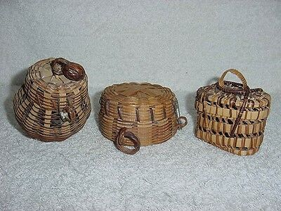 Vintage 3 Small Lidded Wicker Woven Trinket Jewelry BASKET LOT