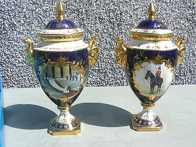 Rare Pair Of Coalport Twin Handled Lidded Vases Royal Wedding Diana & The Queen