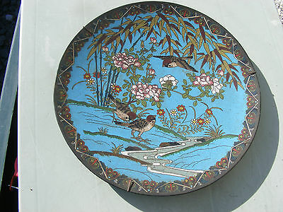 Antique Japanese Meji Period Cloisonne Plate  Birds