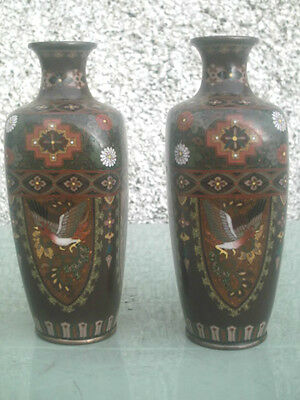 Rare Stunning Pair Of Antique Japanese Cloisonne Vases Meji Period