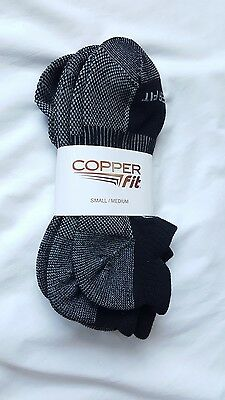 Copper Fit 3 Pair Performance Sport Ankle Socks Black Gray S/M NWT
