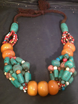 Antique African Amber Copal Tribal  Necklace
