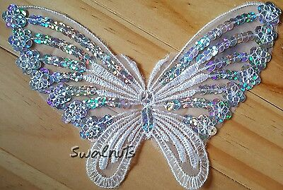 White BUTTERFLY Sequin Embroidered Lace Organza - Applique Motif Patch Sew on