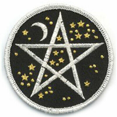 Star and Moon Pentagram Clothing Patch Embroidered Sew-On Pagan Wiccan