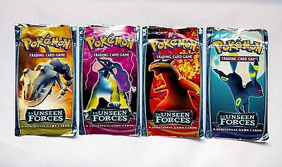 FULL SET, 2005 UNWEIGHED, SEALED EX Unseen Forces Booster Pack Pokemon gold star