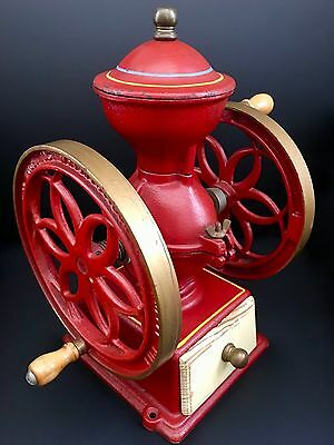 Vintage AMERICAN JOHN WRIGHT Red 2 Fly-Wheels Cast Iron+Wood Coffee Mill/Grinder