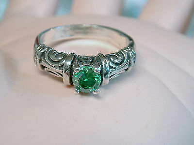 .81ct green moissanite diamond antique 925 sterling silver ring size 10 USA