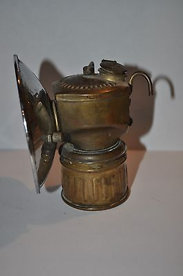 Old  Antique Vintage Miners Brass Carbide Head Lamp Justrite Usa