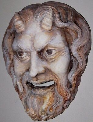 Greek Roman Satyr Mask Ceramic God Zeus Plaque Apollo Dionysus Centaur Pan