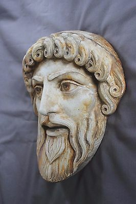 Old Greek Roman Mask Zeus Poseidon Marbleized God Plaque Apollo Dionysus Athena