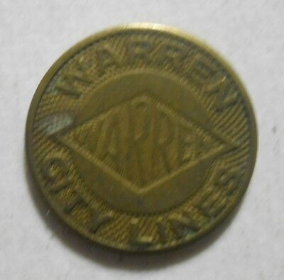 Warren City Lines (Pennsylvania) transit token - PA945C