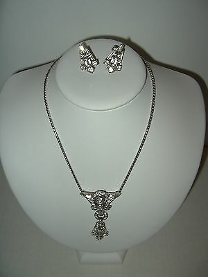 2 Pc Vintage Art Deco CORO Silvertone Clear Rhinestone Necklace & Earrings Set