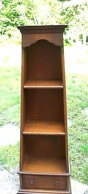 "Vintage Wood Shadow Box Curio Cabinet Drawer Shelves 31"" Wall Hung Or Table Top"