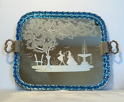 VTG Barovier Murano Italy ART glass VANITY TRAY MIRROR Etched Rope Trim!