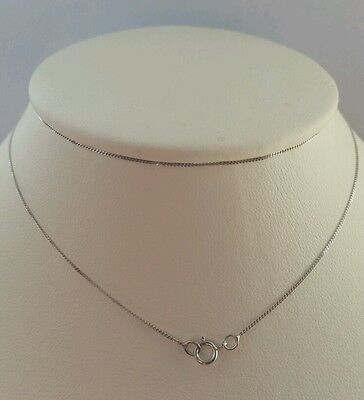 9ct Solid White Gold Fine Diamond Cut Curb Chain Necklace 18""