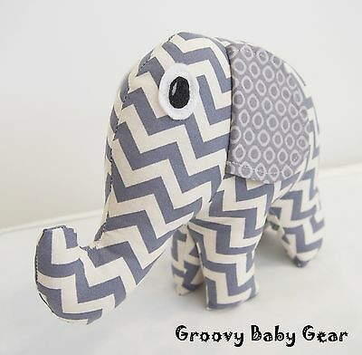 BABY SOFT ELEPHANT TOY Handmade - Grey Chevron Design *NEW * FREE POST