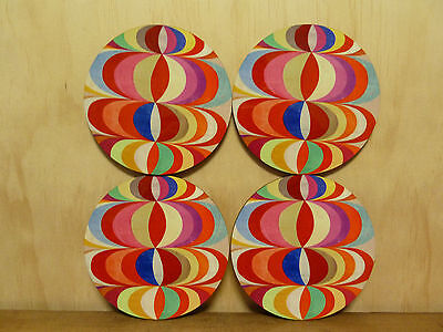 Set Of Four Coasters - Round 95Mm - Vintage Wallpaper Pattern