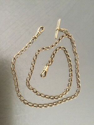 Stunning Solid 9ct Gold Chain Necklace. With T Bar 50 Cm Long  13.2. Grams .