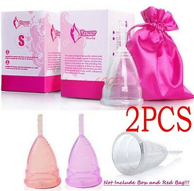 2PCS Reusable Silicone Menstrual Cup Period Soft Medical Diva Cups Large Middle