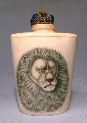 Vintage Lion Design Chinese Snuff Bottle With Built In Snuff Spoon
