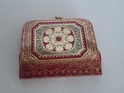 Vintage Tooled Leather Ladies Wallet + Chantge Purse Gold & Red Gilt Tole ITALY