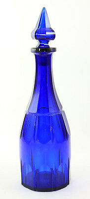 Early 19th c. deep cobalt cut glass decanter with spear shape stopper [11094]