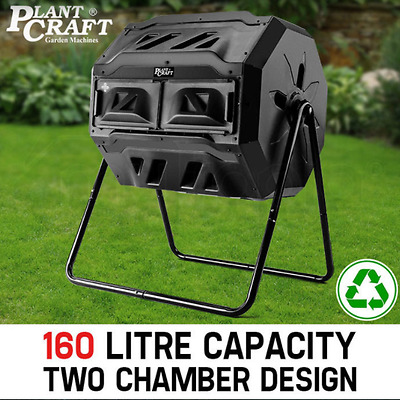 Heavy Duty 160L Twin Bin Food Waste Aerated Composter Compost Tumbler Dual