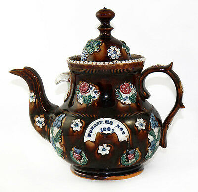 1881 large Measham Bargeware teapot with dated motto, multiknop finial [11074]