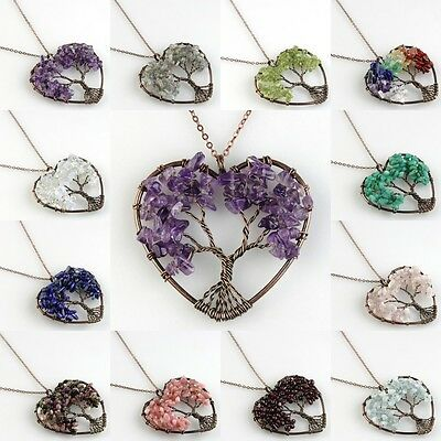 Natural Amethyst Lapis Lazuli Tree of Life Chakra Copper Heart Pendant Necklace