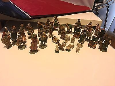 "Over 26 Pieces Miniature Nativity Set Thick Plastic Or Ceramic Average 2"" - 2 1/"