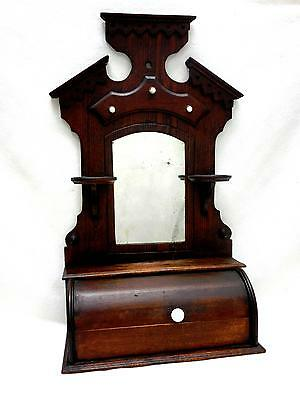 Antique Victorian Hanging Shaving Mirror w Razor/ Comb Box, Candle Stands